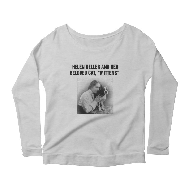 "SIDE EYE/""Helen Keller's Cat"" (Black) Women's Scoop Neck Longsleeve T-Shirt by Josh Sabarra's Shop"