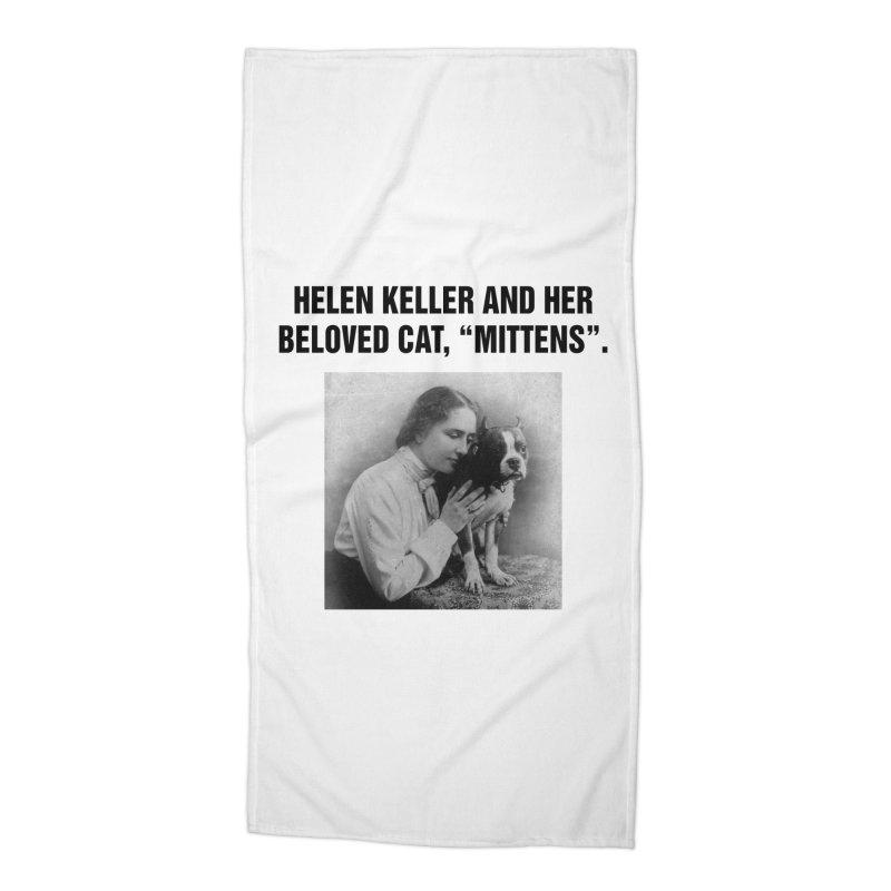 """SIDE EYE/""""Helen Keller's Cat"""" (Black) Accessories Beach Towel by Josh Sabarra's Shop"""