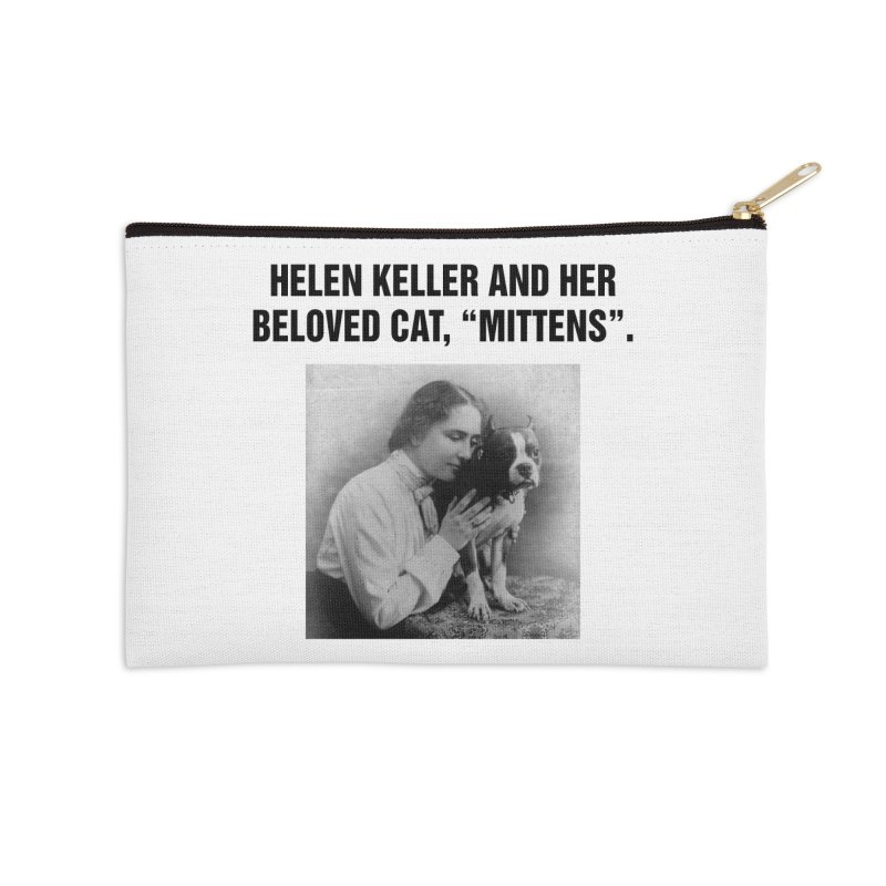 "SIDE EYE/""Helen Keller's Cat"" (Black) Accessories Zip Pouch by Josh Sabarra's Shop"