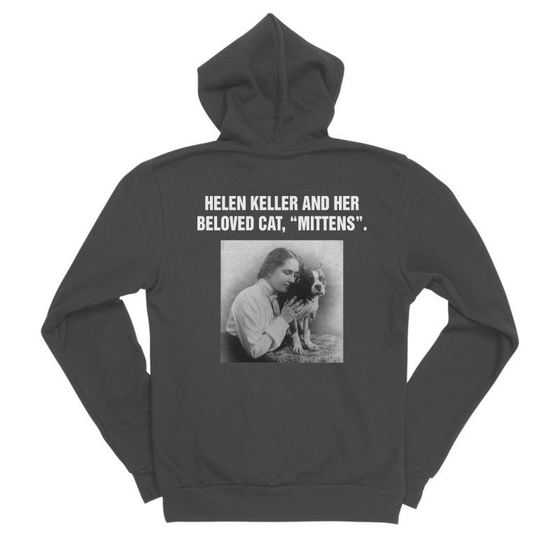 """SIDE EYE/""""Helen Keller's Cat"""" (White) Men's Sponge Fleece Zip-Up Hoody by Josh Sabarra's Shop"""