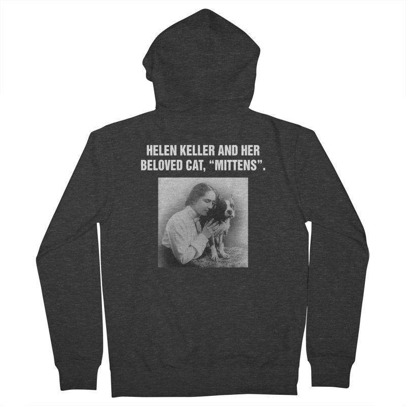 """SIDE EYE/""""Helen Keller's Cat"""" (White) Women's French Terry Zip-Up Hoody by Josh Sabarra's Shop"""