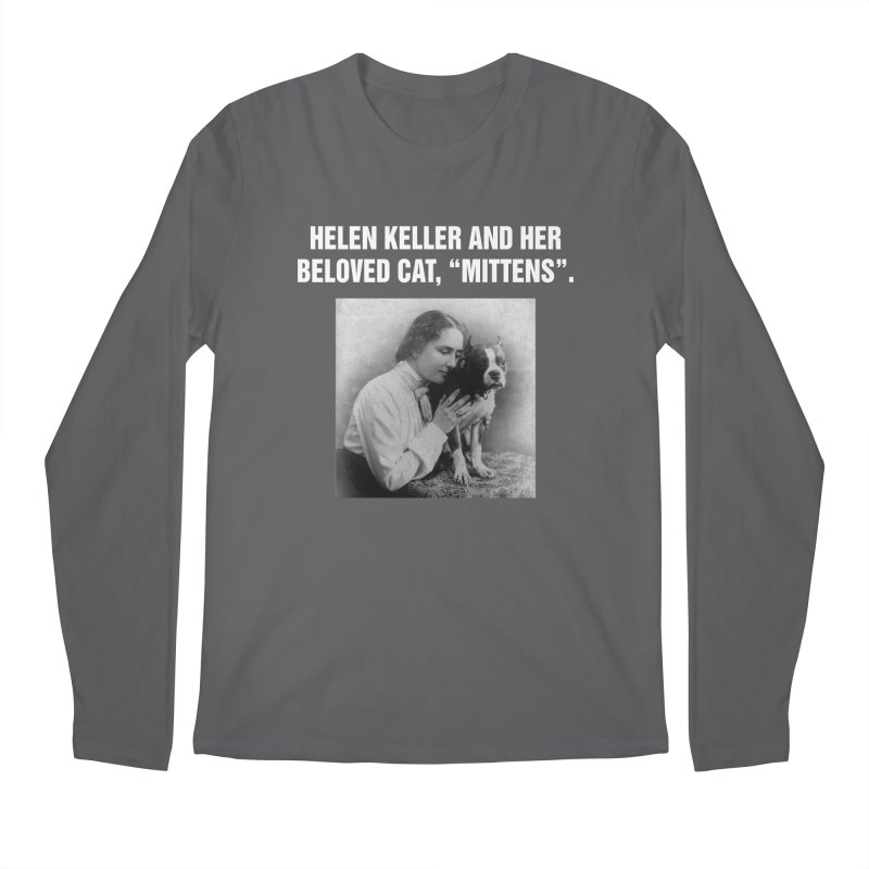 "SIDE EYE/""Helen Keller's Cat"" (White) Men's Regular Longsleeve T-Shirt by Josh Sabarra's Shop"