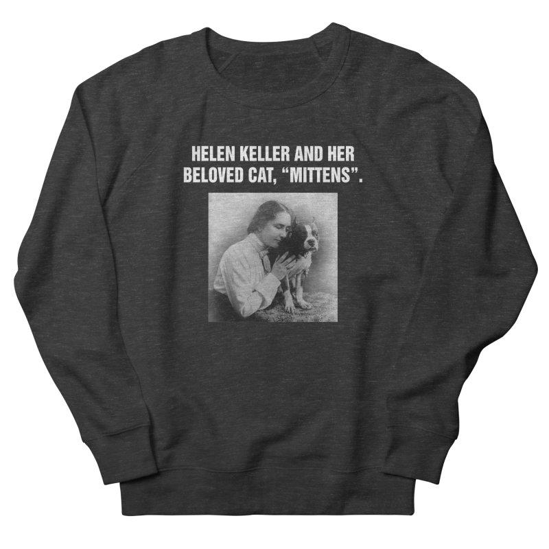 """SIDE EYE/""""Helen Keller's Cat"""" (White) Men's French Terry Sweatshirt by Josh Sabarra's Shop"""