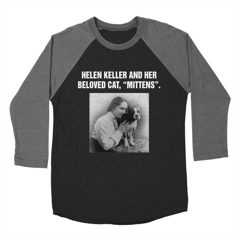 "SIDE EYE/""Helen Keller's Cat"" (White) Men's Baseball Triblend Longsleeve T-Shirt by Josh Sabarra's Shop"
