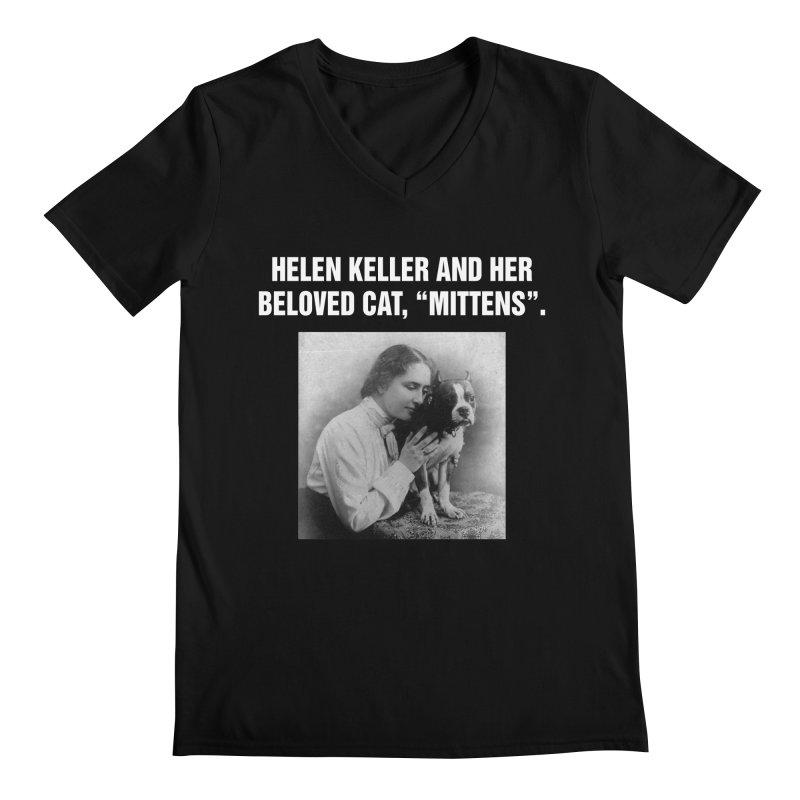 """SIDE EYE/""""Helen Keller's Cat"""" (White) Men's Regular V-Neck by Josh Sabarra's Shop"""