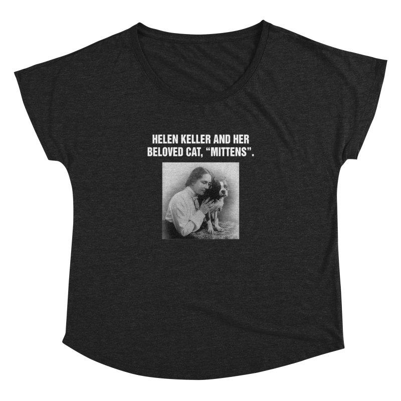 """SIDE EYE/""""Helen Keller's Cat"""" (White) Women's Dolman Scoop Neck by Josh Sabarra's Shop"""