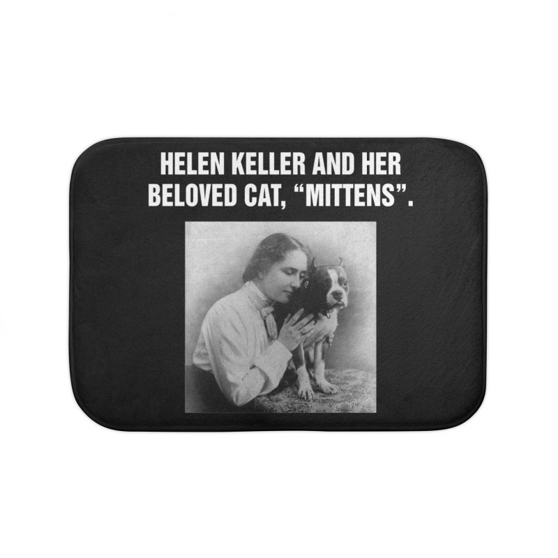"SIDE EYE/""Helen Keller's Cat"" (White) Home Bath Mat by Josh Sabarra's Shop"