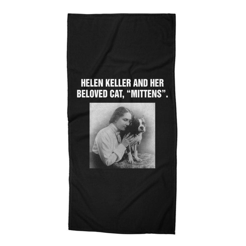 """SIDE EYE/""""Helen Keller's Cat"""" (White) Accessories Beach Towel by Josh Sabarra's Shop"""