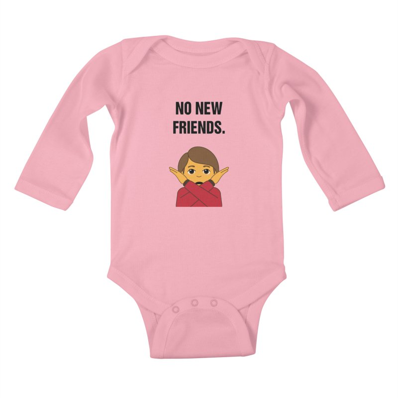 "SIDE EYE/""No New Friends"" (Black) Kids Baby Longsleeve Bodysuit by Josh Sabarra's Shop"