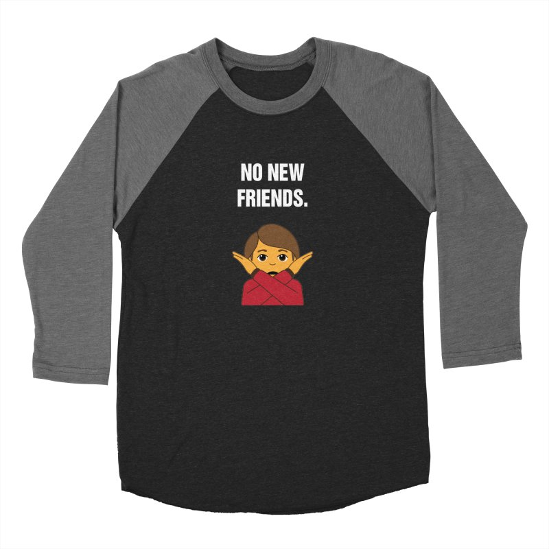 "SIDE EYE/""No New Friends"" (White) Women's Baseball Triblend Longsleeve T-Shirt by Josh Sabarra's Shop"