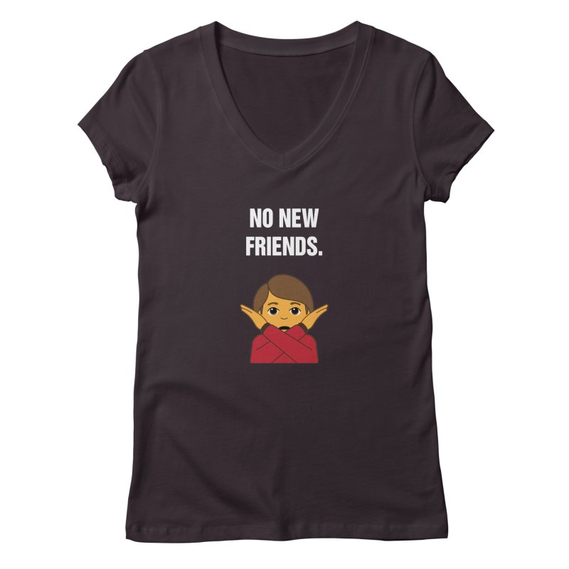 "SIDE EYE/""No New Friends"" (White) Women's Regular V-Neck by Josh Sabarra's Shop"