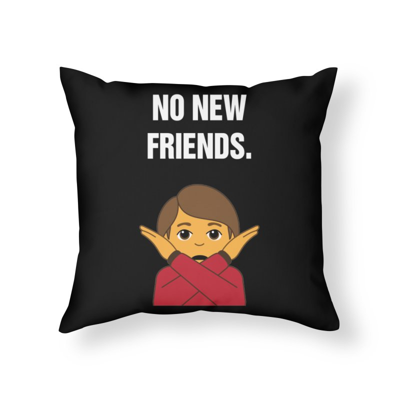 "SIDE EYE/""No New Friends"" (White) Home Throw Pillow by Josh Sabarra's Shop"