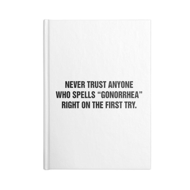 "SIDE EYE/""Gonorrhea"" (Black) Accessories Notebook by Josh Sabarra's Shop"