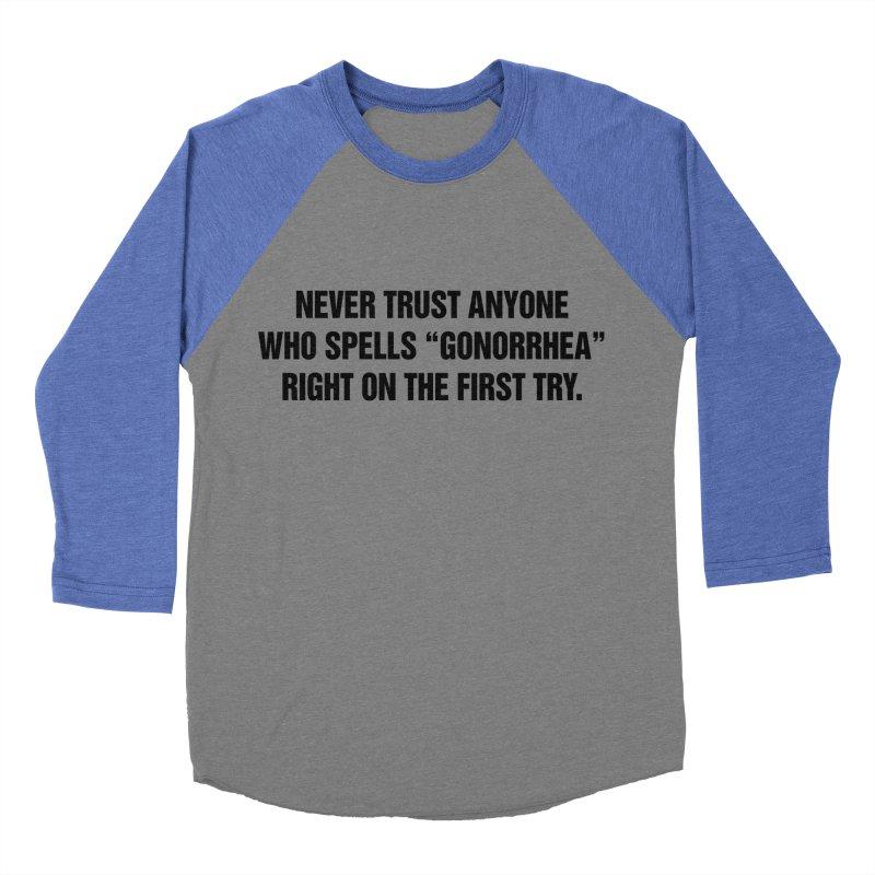 "SIDE EYE/""Gonorrhea"" (Black) Women's Baseball Triblend Longsleeve T-Shirt by Josh Sabarra's Shop"
