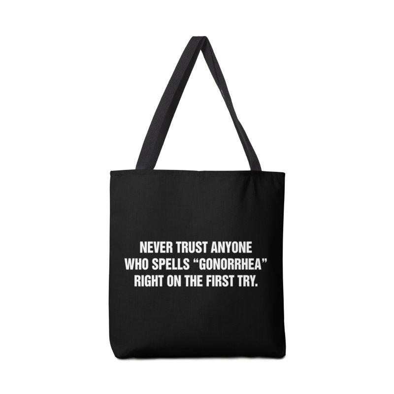 "SIDE EYE/""Gonorrhea"" (White) Accessories Bag by Josh Sabarra's Shop"
