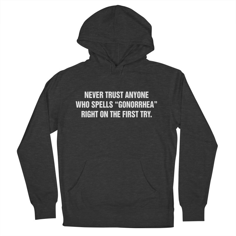 """SIDE EYE/""""Gonorrhea"""" (White) Men's French Terry Pullover Hoody by Josh Sabarra's Shop"""