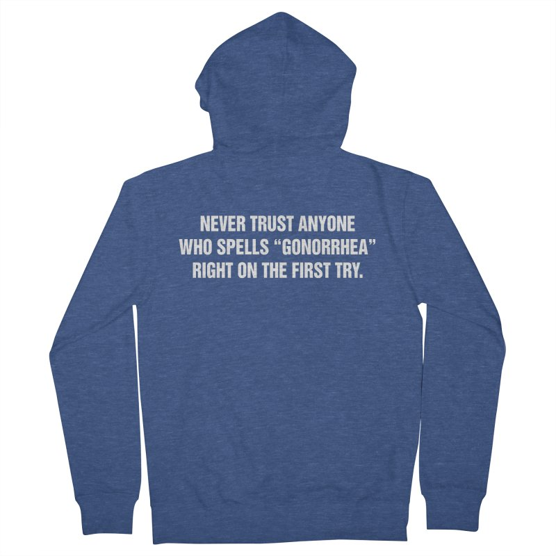 """SIDE EYE/""""Gonorrhea"""" (White) Men's French Terry Zip-Up Hoody by Josh Sabarra's Shop"""