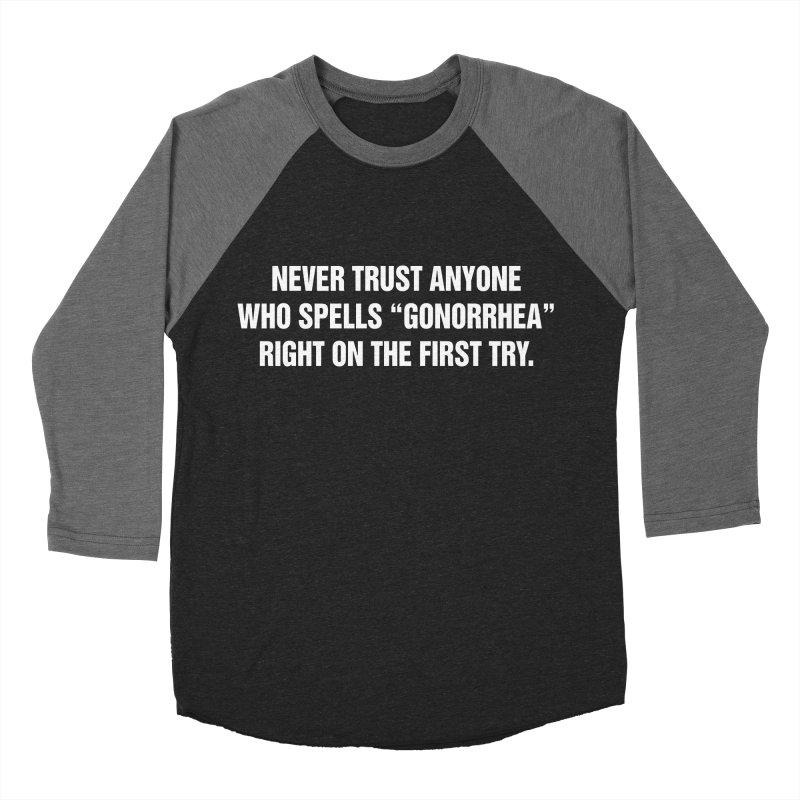 "SIDE EYE/""Gonorrhea"" (White) Women's Baseball Triblend Longsleeve T-Shirt by Josh Sabarra's Shop"