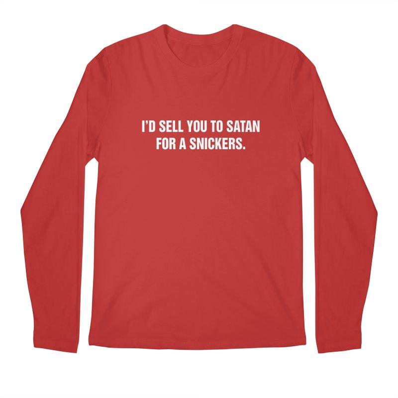 """SIDE EYE/""""Snickers"""" (White) Men's Regular Longsleeve T-Shirt by Josh Sabarra's Shop"""