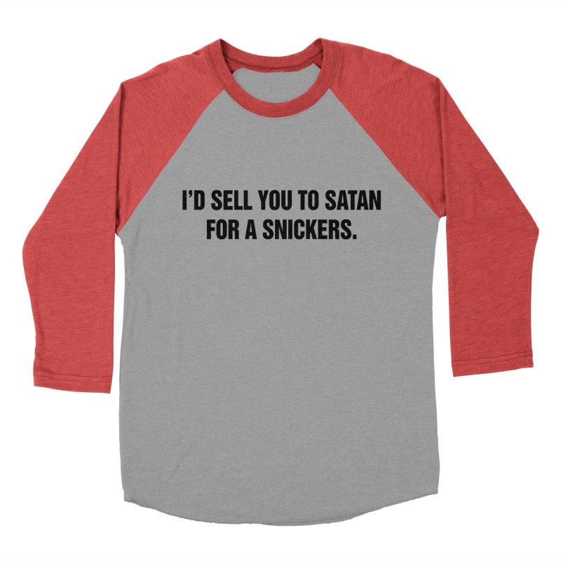 """SIDE EYE/""""Snickers"""" (Black) Men's Baseball Triblend Longsleeve T-Shirt by Josh Sabarra's Shop"""