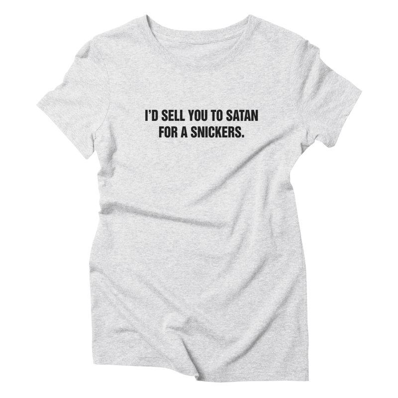 "SIDE EYE/""Snickers"" (Black) Women's Triblend T-Shirt by Josh Sabarra's Shop"