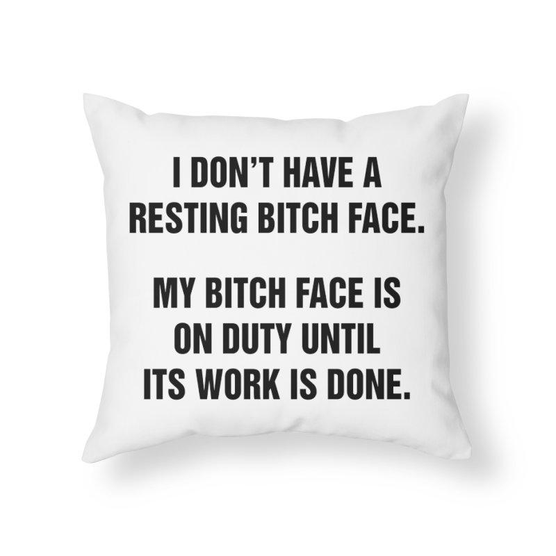 "SIDE EYE/""Bitch Face"" (Black) Home Throw Pillow by Josh Sabarra's Shop"