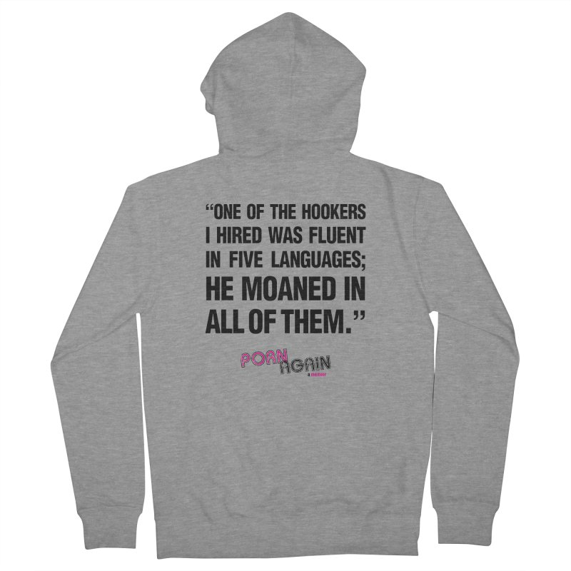 """PORN AGAIN/""""Hookers"""" (Black) Women's French Terry Zip-Up Hoody by Josh Sabarra's Shop"""