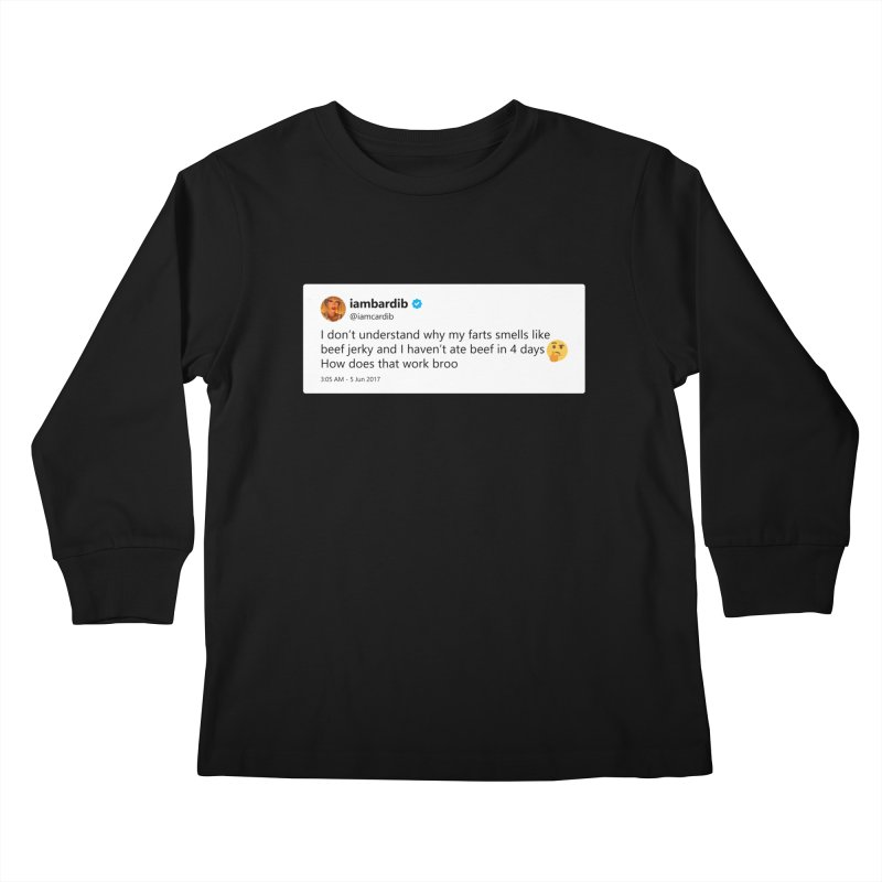 "SIDE EYE/""Cardi Beef Jerky"" TweetSHIRT Kids Longsleeve T-Shirt by Josh Sabarra's Shop"