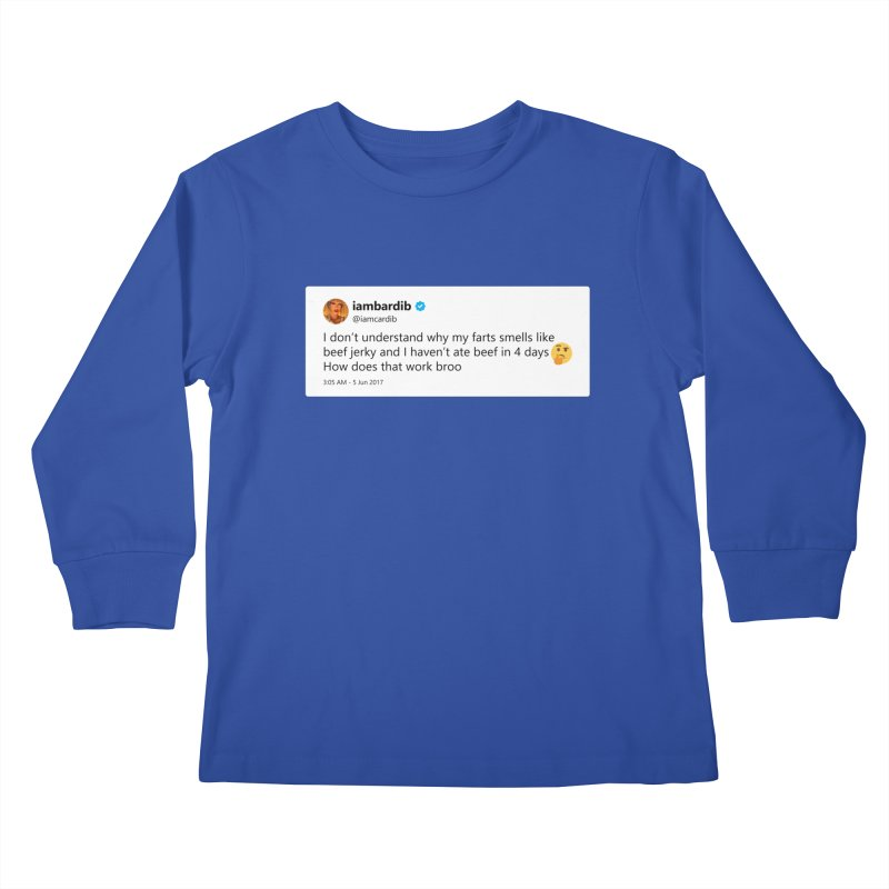 """SIDE EYE/""""Cardi Beef Jerky"""" TweetSHIRT Kids Longsleeve T-Shirt by Josh Sabarra's Shop"""