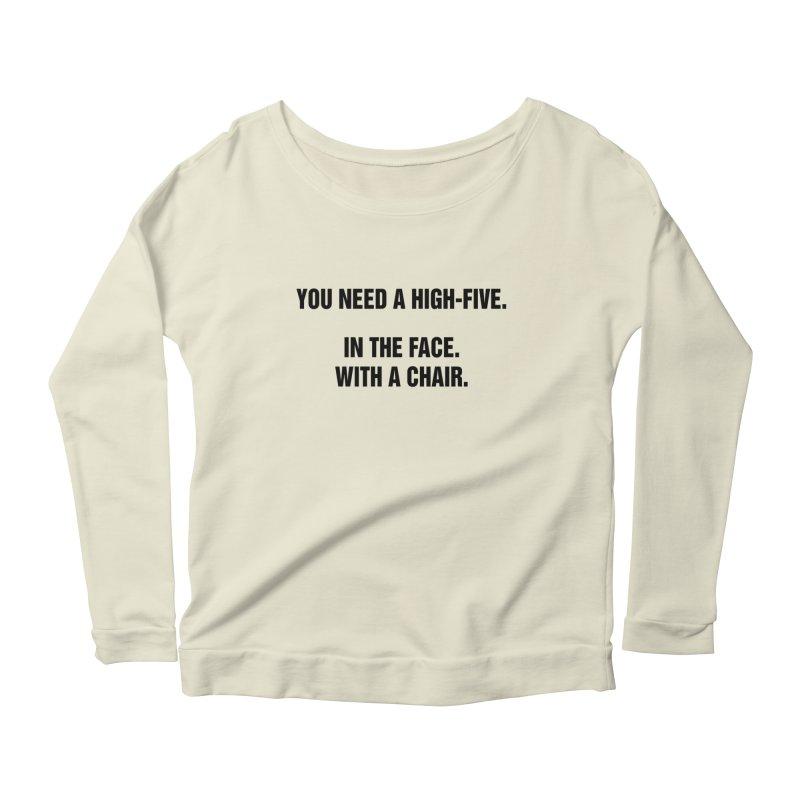 """SIDE EYE/""""High-Five"""" (Black) Women's Scoop Neck Longsleeve T-Shirt by Josh Sabarra's Shop"""