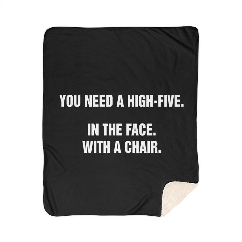 "SIDE EYE/""High-Five"" (White) Home Sherpa Blanket Blanket by Josh Sabarra's Shop"