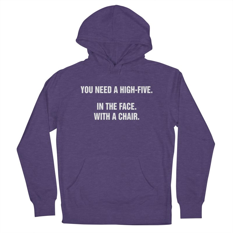 """SIDE EYE/""""High-Five"""" (White) Women's French Terry Pullover Hoody by Josh Sabarra's Shop"""