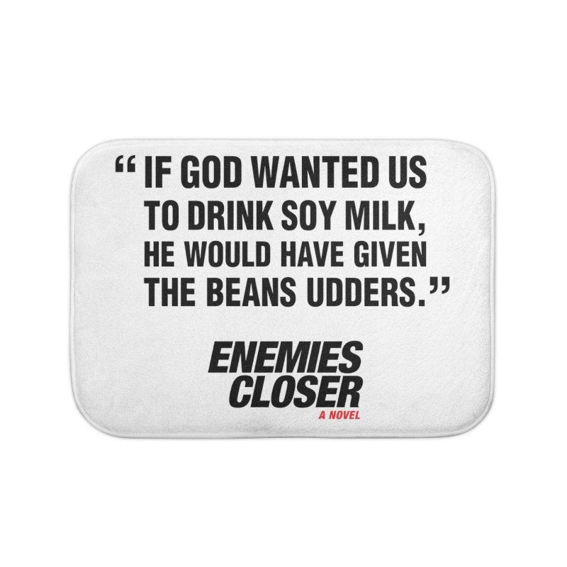 "ENEMIES CLOSER/""Soy Milk"" (Black) Home Bath Mat by Josh Sabarra's Shop"
