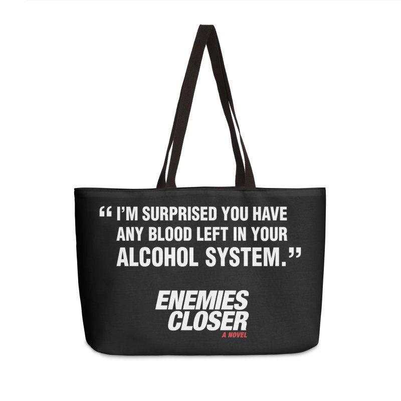 "ENEMIES CLOSER/""Alcohol System"" (White) Accessories Bag by Josh Sabarra's Shop"