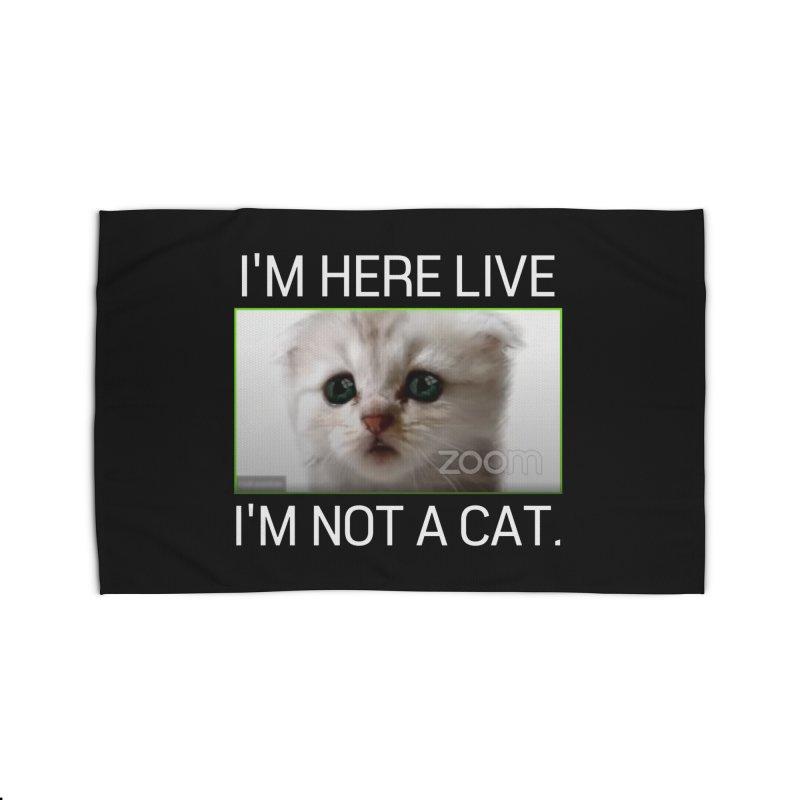 I'm Here Live. I'm Not a Cat. Home Rug by The Strange Pope's Stuff-Shack