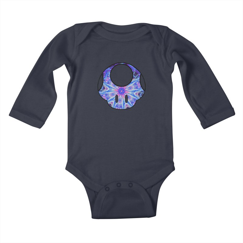 Psychedelic Power-Up (For Light Colors) Kids Baby Longsleeve Bodysuit by The Strange Pope's Stuff-Shack