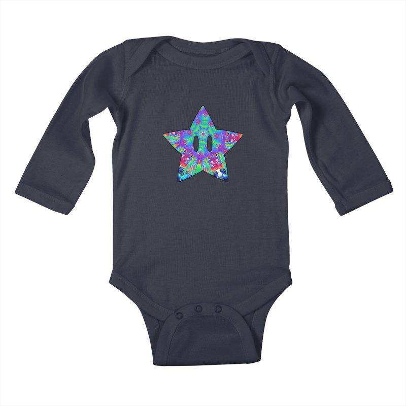 Psychedelic Star (For Light Colors) Kids Baby Longsleeve Bodysuit by The Strange Pope's Stuff-Shack