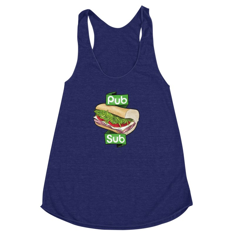 Pub Sub Women's Racerback Triblend Tank by Justin Peterson
