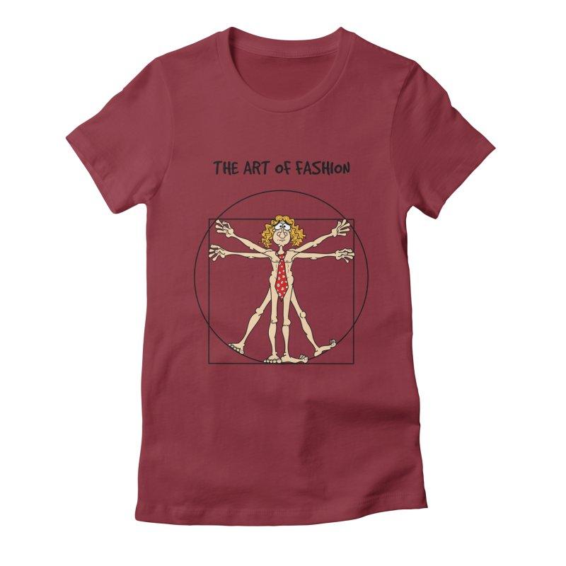 Vitruvian man in black Women's Fitted T-Shirt by Justoutsidebox's Artist Shop