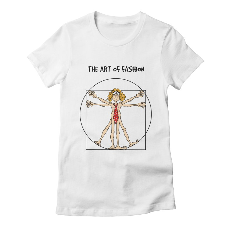 Vitruvian man in black Women's Fitted T-Shirt by Justoutsidebox's Artist Shop