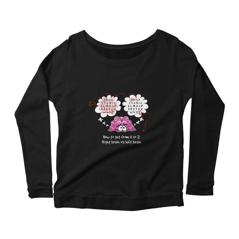 Right brain vs left brain Women's Longsleeve Scoopneck  by Justoutsidebox's Artist Shop
