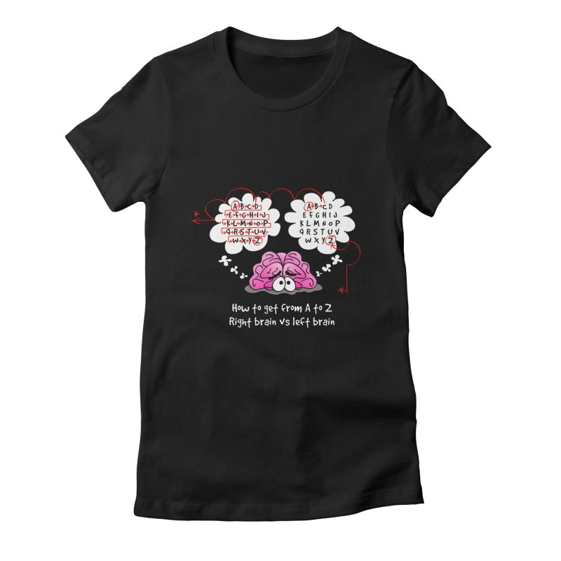 Right brain vs left brain Women's Fitted T-Shirt by Justoutsidebox's Artist Shop