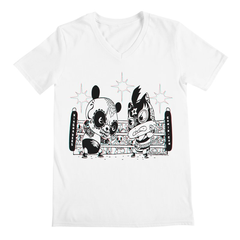 Panda Kid Vs. Mikey Men's V-Neck by KINGMAKERS's Artist Shop