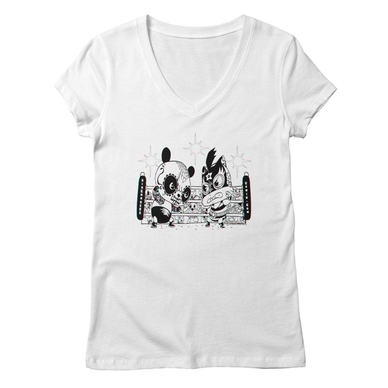 Panda Kid Vs. Mikey Women's V-Neck by KINGMAKERS's Artist Shop