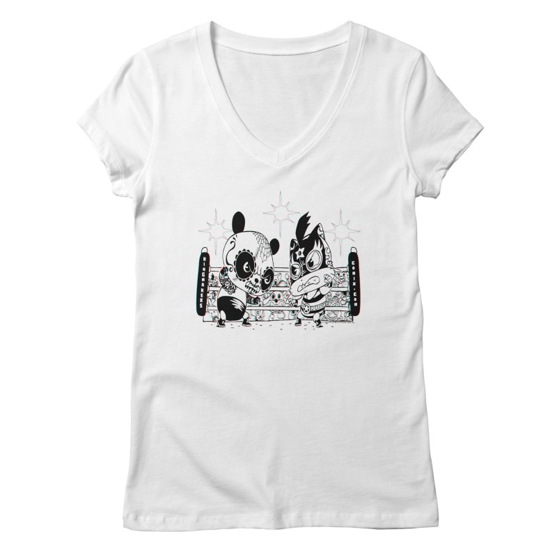 Panda Kid Vs. Mikey Women's V-Neck by KINGMAKERS's Artist Shop