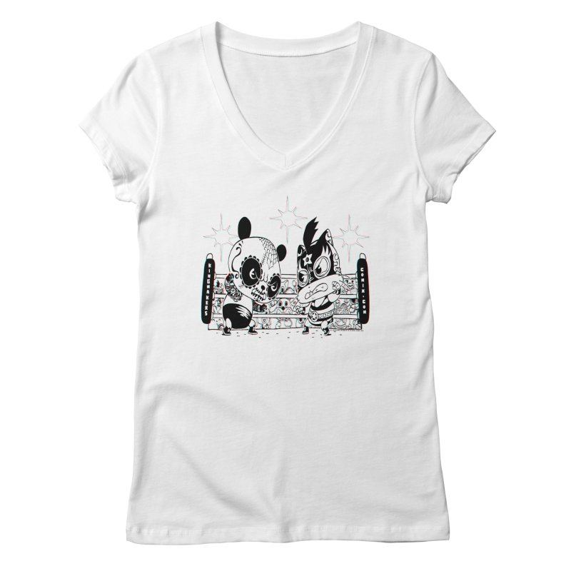 Panda Kid Vs. Mikey Women's Regular V-Neck by KINGMAKERS's Artist Shop