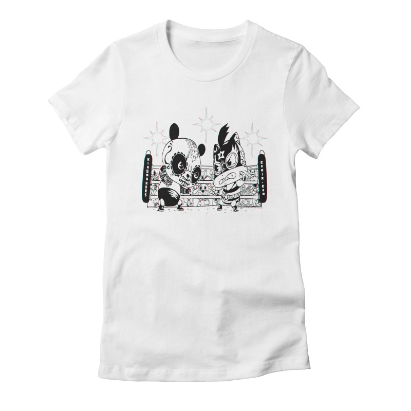 Panda Kid Vs. Mikey Women's Fitted T-Shirt by KINGMAKERS's Artist Shop