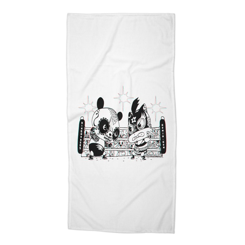 Panda Kid Vs. Mikey Accessories Beach Towel by KINGMAKERS's Artist Shop