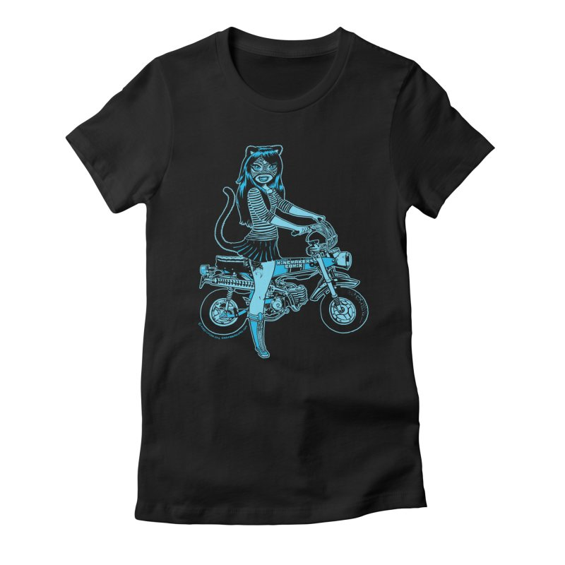 Lucha Biker Black Women's Fitted T-Shirt by KINGMAKERS's Artist Shop