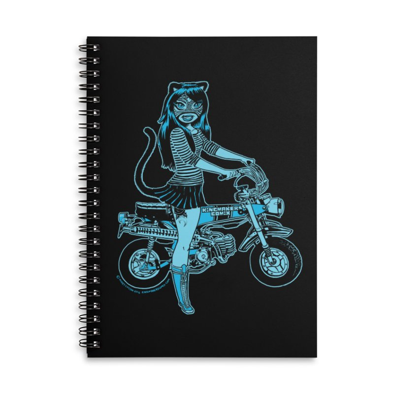 Lucha Biker Black Accessories Lined Spiral Notebook by KINGMAKERS's Artist Shop